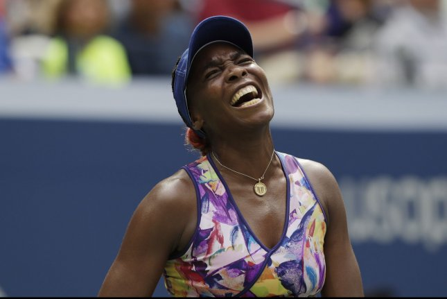 Venus Williams of the United States reacts after losing a point in her defeat in 3 sets to Karolina Pliskova of the Czech Republic in the 4th round in Arthur Ashe Stadium at the 2016 US Open Tennis Championships at the USTA Billie Jean King National Tennis Center in New York City on September 5, 2016. Photo by John Angelillo/UPI