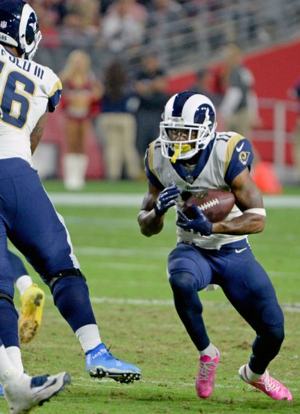 Los Angeles Rams receiver Tavon Austin looks for running room during a game against the Arizona Cardinals in December. Photo by Art Foxall/UPI