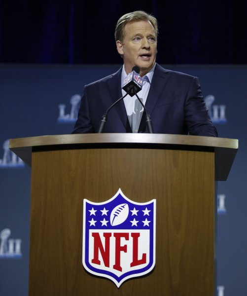 NFL commissioner Roger Goodell speaks to the media during the week before Super Bowl LII in January. Photo by Kamil Krzaczynski/UPI