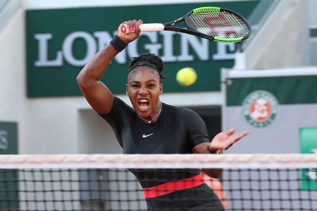 American Serena Williams hits a shot during her French Open women's third round match against Julia Goerges of Germany Saturday at Roland Garros in Paris. Photo by David Silpa/UPI