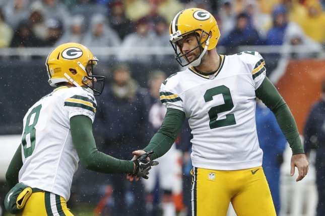 Mason Crosby (2) kicked a game-winning field goal to lift the Green Bay Packers over the San Francisco 49ers on Monday night. Photo by Kamil Krzaczynski/UPI