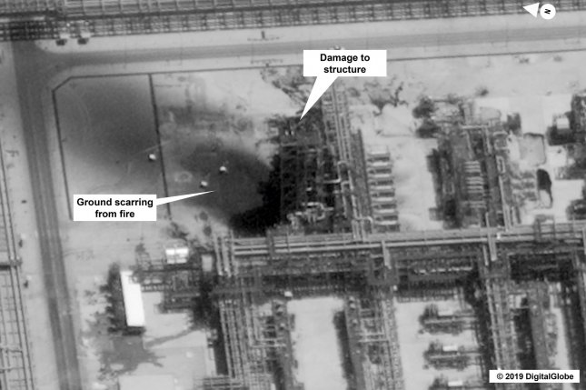 Damage caused by a September 14 drone attack on Aramco's Kuirais oil field in Buqyaq, Saudi Arabia, is seen in an image issued by the U.S. government and DigitalGlobe. Photo by U.S. Government/DigitalGlobe/UPI