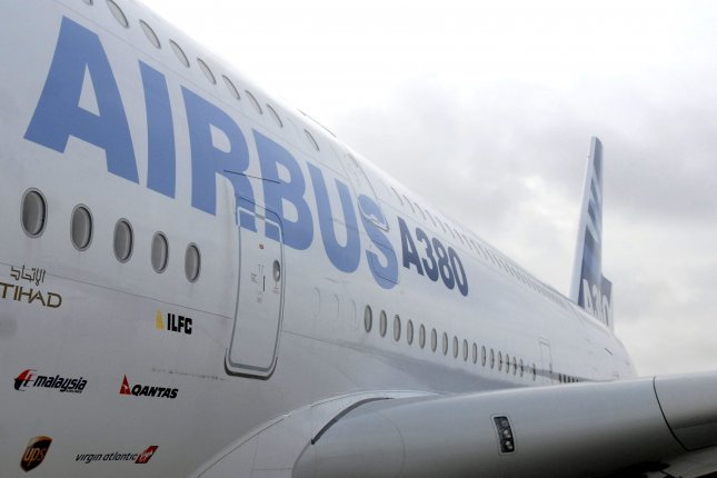 An Airbus A380 aircraft is seen at Washington Dulles International Airport in Dulles, Va. File Photo by Kevin Dietsch/UPI