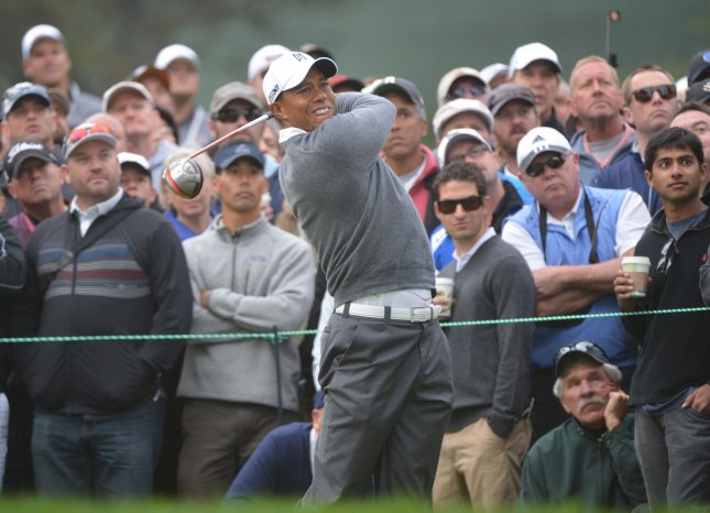 Tiger Woods drives on the 10th tee in the U.S. Open at the Olympic Club in San Francisco on June 14, 2012. Woods scored a par on the hole. UPI/Kevin Dietsch