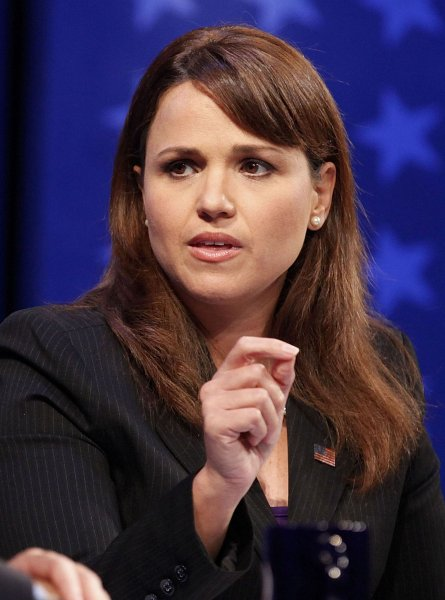 Republican candidate Christine O'Donnell responds to Democratic candidate Chris Coons during a Delaware Senate debate at the University of Delaware in Newark, Delaware, October 13, 2010. UPI Photo/Jacquelyn Martin/Pool