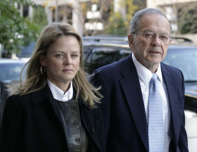 Senator Ted Stevens (R-AK) accompanied by his daughter Beth Stevens, arrives at the U.S. District Court in Washington on October 20, 2008, where his trial on corruption charges moves into its closing stages. (UPI Photo/Yuri Gripas)