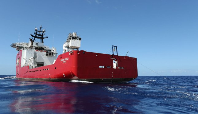 The Australian Defense Vessel Ocean Shield searches for the flight data recorder and cockpit voice recorder of a Malaysia Airlines jetliner MH370 missing in the Indian Ocean, about 1,000 miles off the coast of Perth, Australia. File Photo by UPI/Bradley Darvill/Australian Defense Force
