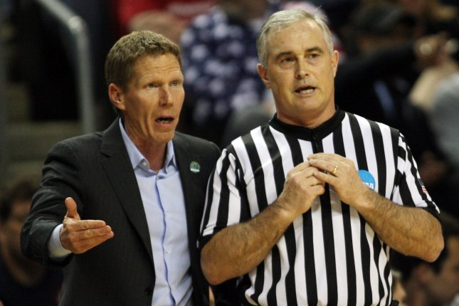 Gonzaga Head Coach Mark Few complains to an official. File photo by Jim Bryant/UPI