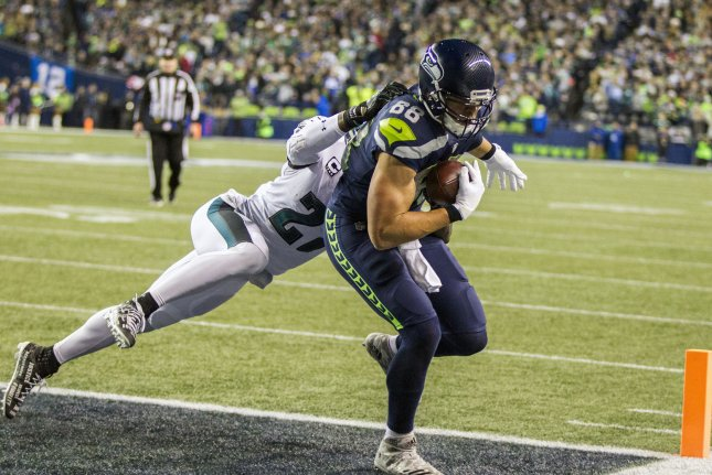 Seattle Seahawks tight end Jimmy Graham (88) catches a 11-yard touchdown pass from quarterback Russell Wilson during the first quarter against Philadelphia Eagles strong safety Malcolm Jenkins (27) at CenturyLink Field Sunday in Seattle, Wash. Photo by Jim Bryant/UPI