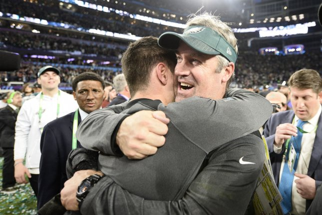 Philadelphia Eagles head coach Doug Pederson celebrates their 41-33 win over the New England Patriots during Super Bowl LII on February 4 at U.S. Bank Stadium in Minneapolis, Minnesota. File photo by Brian Kersey/UPI