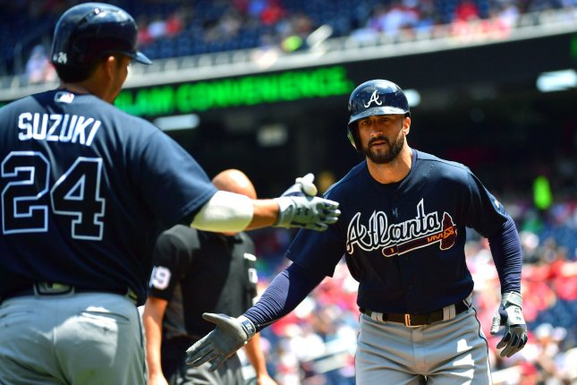 Atlanta Braves right fielder Nick Markakis (R) is congratulated by teammate Kurt Suzuki after hitting a solo home run against the Washington Nationals on August 9 at Nationals Park in Washington, D.C. Photo by Kevin Dietsch/UPI