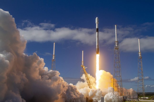 A SpaceX rocket lifts off on Monday, carrying 60 Starlink satellites into orbit from Cape Canaveral Air Force Station, Florida. Photo by SpaceX/UPI