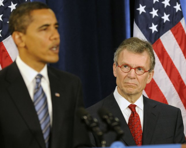 President-elect Barack Obama speaks at a press conference announcing former Sen. Tom Daschle (D-SD) (R) as the next Health and Human Services Secretary and Dr. Jeanne Lambrew as the Deputy Director of White House Health Reform in Chicago on December 11, 2008. (UPI Photo/David Banks)