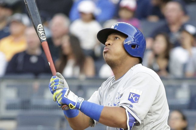 Kansas City Royals' Salvador Perez hits a 3-run home run in the first inning against the New York Yankees at Yankee Stadium in New York City on May 11, 2016. Photo by John Angelillo/UPI
