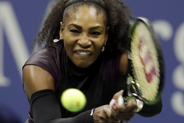 Serena Williams of the United States hits a backhand to Vania King of the United States in the second round in Arthur Ashe Stadium at the 2016 US Open Tennis Championships at the USTA Billie Jean King National Tennis Center in New York City on September 1, 2016. Williams defeated King in straight sets. Photo by John Angelillo/UPI