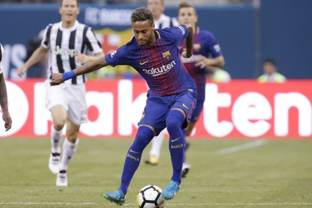 Neymar of Barcelona moves with the ball in the first half against Juventus at The International Champions Cup on July 22 at Metlife Stadium in East Rutherford, N.J. Photo by John Angelillo/UPI