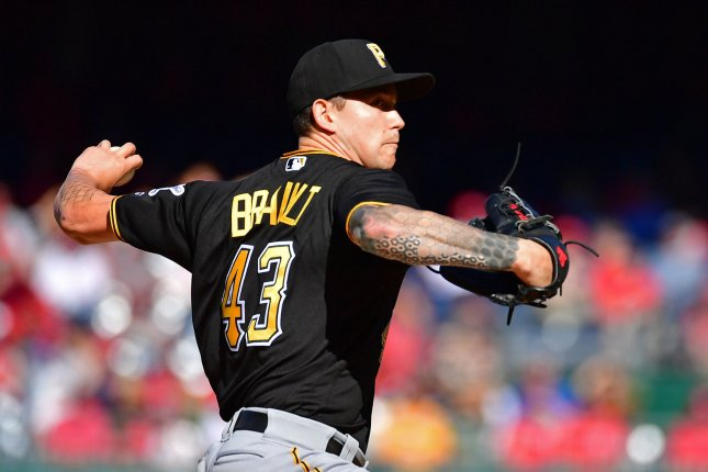 Pittsburgh Pirates starting pitcher Steven Brault (43) pitches against the Washington Nationals. File photo by Kevin Dietsch/UPI