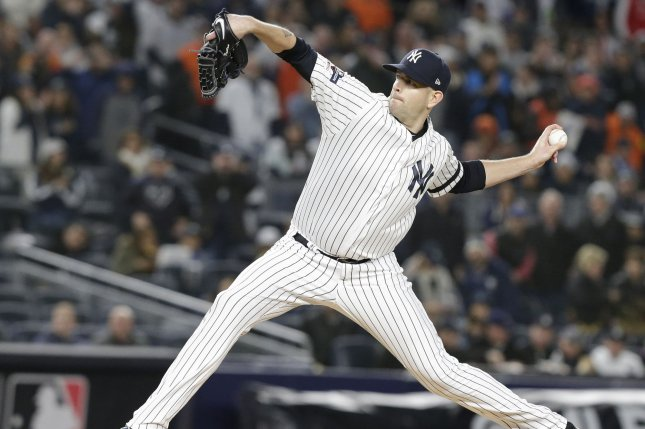 New York Yankees starting pitcher James Paxton underwent a microscopic lumbar discectomy and also had a peridiscal cyst removed Wednesday. File Photo by John Angelillo/UPI
