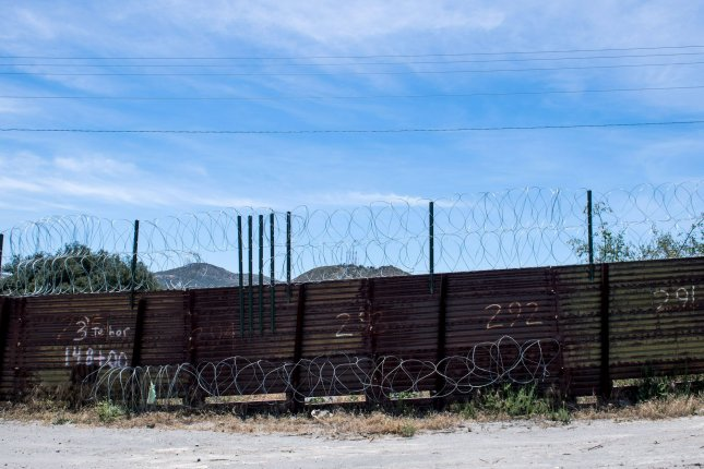 A section of border fence on the U.S. - Mexico border is seen in Tecate, California on June 10, 2019. Photo by Kevin Dietsch/UPI