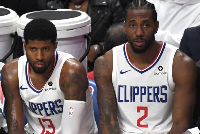 Los Angeles Clippers stars Paul George (13) and Kawhi Leonard (2) combined for 59 points in a win over the Los Angeles Lakers on Tuesday in Los Angeles. File Photo by Jon SooHoo/UPI