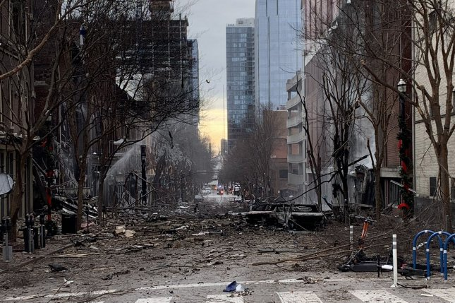 Debris is seen in downtown Nashville last Friday after a recreational vehicle exploded on Second Avenue North. Photo courtesy Nashville Fire Department/Twitter/UPI