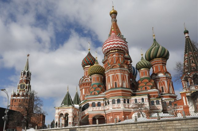 The colorful domes of St. Basil's Cathedral and the Kremlin (at left) are seen in Moscow, Russia. File Photo by Yuri Gripas/UPI