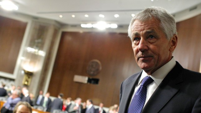 Former Senator Chuck Hagel returns from a break while testifying before the Senate Armed Services Committee for his confirmation hearing for Secretary of Defense, in Washington, DC on January 31, 2013. UPI/Molly Riley