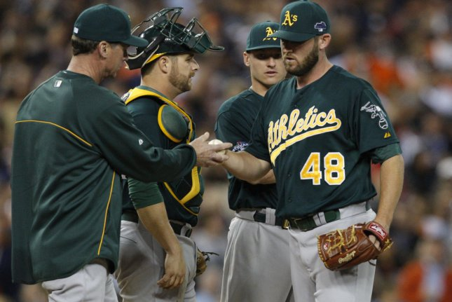 Oakland Athletics relief pitcher Ryan Cook (R ) is taken out of the game by Athletics manager Bob Melvin during the eighth inning of game 4 of the ALDS game at Comerica Park in Detroit on October 8, 2013. UPI/Rebecca Cook