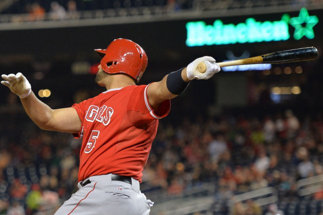 Los Angeles Angles' Albert Pujols. UPI/Kevin Dietsch