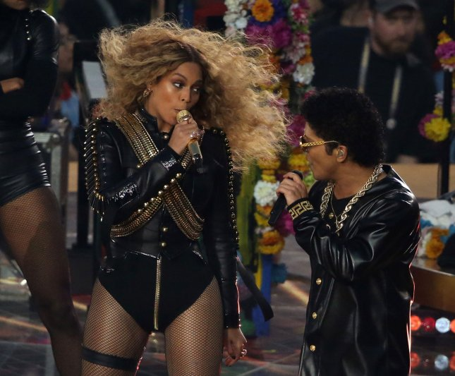 Beyonce and Bruno Mars perform during the Super Bowl 50 halftime show which celebrated the past, present and future at Levi's Stadium in Santa Clara, California, February 7, 2015. Photo by Khaled Sayed/UPI