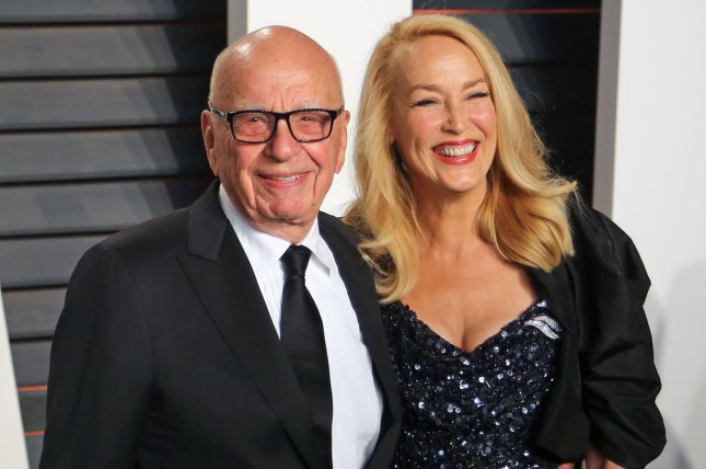 Rupert Murdoch (L) and Jerry Hall at the Vanity Fair Oscar party on Sunday. The couple married Friday in London. File Photo by David Silpa/UPI