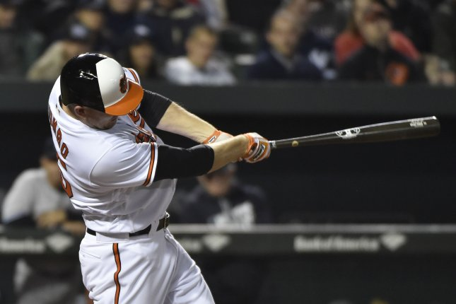 Baltimore Orioles' Mark Trumbo. Photo by David Tulis/UPI