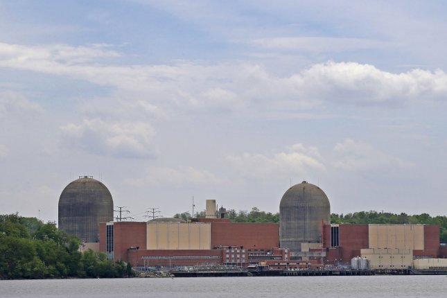 The two reactors at the Indian Point Energy Center stands on the banks of the Hudson River in Buchanan, New York. Friday, officials said the plant's Unit 2 was temporarily shut down Thursday after a water pipe was found to have a small leak. The shutdown is the second at Unit 2 since March. File Photo by John Angelillo/UPI