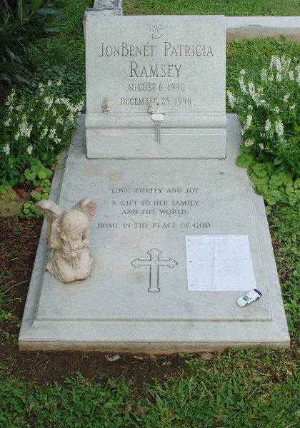 The gravesite of JonBenet Ramsey, located in St. James Episcopal cemetery, Marietta, Ga. She was 6-years-old when she was found murdered in her Boulder, Colo., home the day after Christmas in 1996. File Photo by John Dickerson/UPI