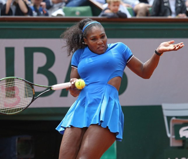 Serena Williams hits a shot during the French Open last year. Photo by David Silpa/UPI