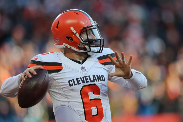 Cleveland Browns quarterback Baker Mayfield threw 27 touchdowns as a rookie last season. File Photo by Aaron Josefczyk/UPI