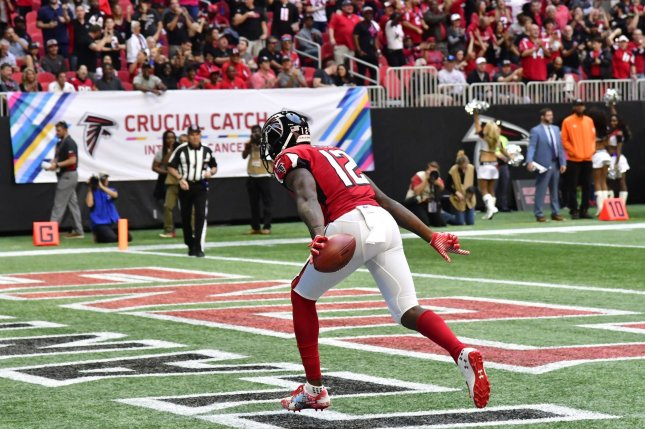 Mohamed Sanu recorded 313 yards and a touchdown in seven games this season for the Atlanta Falcons. File Photo by David Tulis/UPI