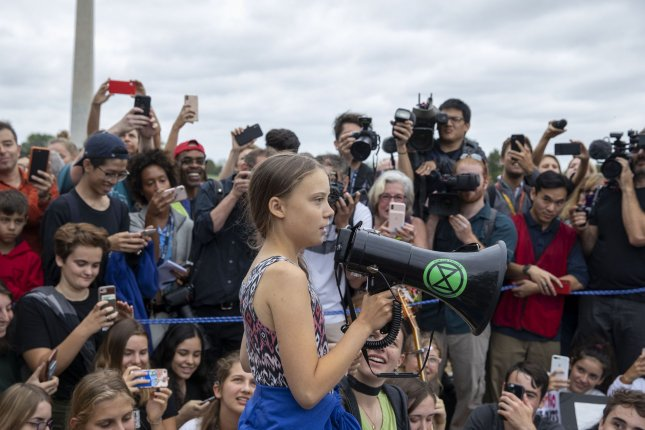 Environmental activist Greta Thunberg leads a rally on climate change near the White House in Washington, D.C., on September 13. File Photo by Tasos Katopodis/UPI