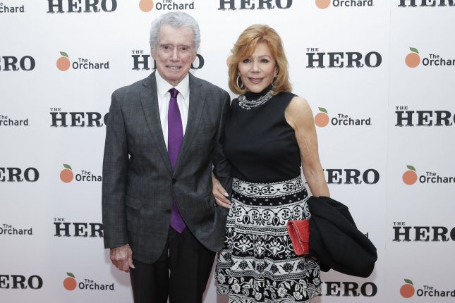 Regis and Joy Philbin arrive at The Hero New York premiere in 2017. Regis died this weekend at age 88. File Photo by John Angelillo/UPI