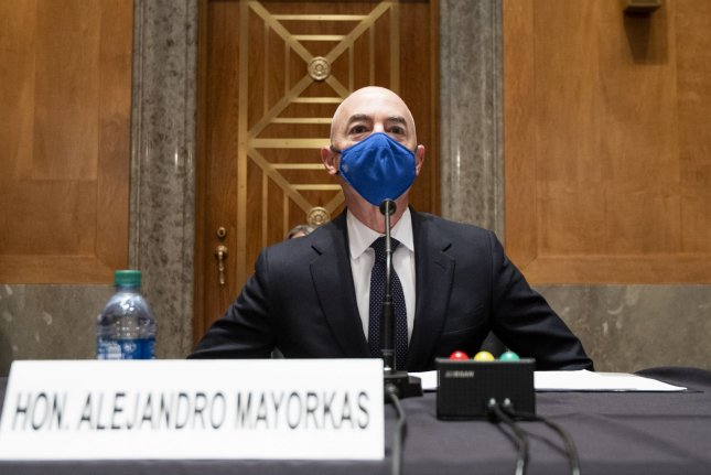 The Senate voted 55-42 to break a Republican filibuster and advance the nomination of Alejandro Mayorkas, President Joe Biden's selection to lead the Department of Homeland Security. Pool Photo By Bill Clark/UPI