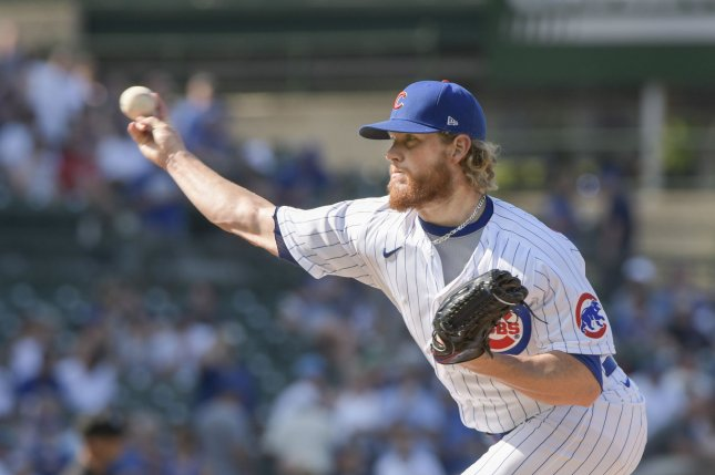 Chicago Cubs closer Craig Kimbrel, shown June 11, 2021, has a 0.49 ERA and 23 saves in 25 opportunities this season. File Photo by Mark Black/UPI