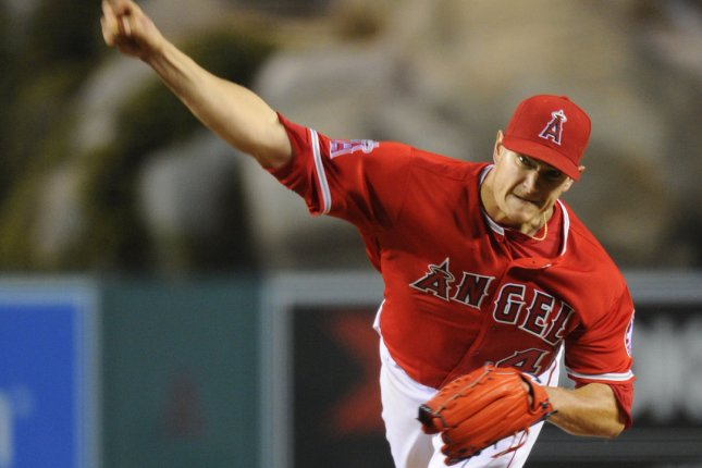 Los Angeles Angels starting pitcher Garrett Richards pitches to the Texas Rangers in the 6th inning at Angel Stadium in Anaheim, California on April 9, 2016. The Rangers won 4-1. Photo by Lori Shepler/UPI.