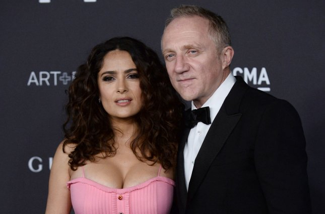 Salma Hayek (L) and Francois-Henri Pinault at the LACMA Art + Film gala on November 7, 2015. The couple married in 2007. File Photo by Jim Ruymen/UPI