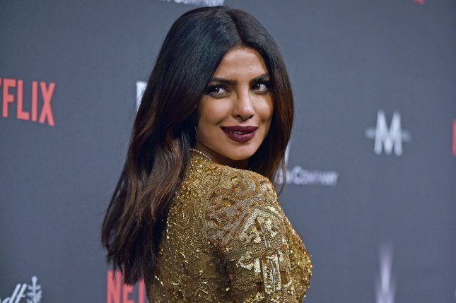 Priyanka Chopra arrives at the Weinstein Company and Netflix 2017 Golden Globes after party at the Beverly Hilton in Beverly Hills on January 8. The actress suffered a concussion while doing a stunt Thursday, but is expected back at work after the long weekend. Photo by Christine Chew/UPI