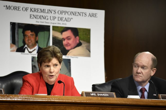 Sen. Jeanne Shaheen (L) questions former ExxonMobil CEO Rex Tillerson, nominated for secretary of state, as Sen. Christopher Coons listens, during the Senate Foreign Relations Committee confirmation hearing on January 11. Tillerson's close business relationship with Russia was scrutinized by the panel. Shaheen has introduced legislation that would give the Justice Department additional authority to investigate Russia's English-language news outlet RT America for possible violations of the Foreign Agents Registration Act. Photo by Mike Theiler/UPI