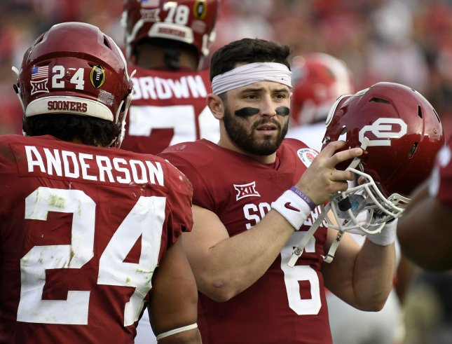 Former Oklahoma quarterback Baker Mayfield (6) is expected to be selected early in Thursday's NFL draft, perhaps with the top overall pick. Photo by Juan Ocampo/UPI