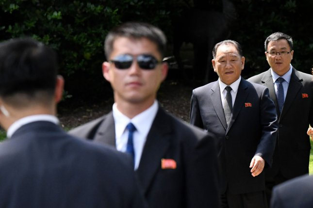 Kim Yong Chol (2-R) former North Korean military intelligence chief and one of leader Kim Jong Un's closest aides, reportedly told U.S. Secretary of State Mike Pompeo the Japanese abduction issue is closed. File Photo by Olivier Douliery/UPI
