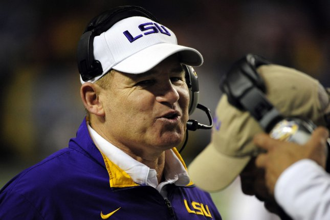 Former LSU head coach Les Miles smiles in the second half of the SEC Championship Game between LSU and Georgia on December 3, 2011 at the Georgia Dome in Atlanta. File photo by David Tulis/UPI