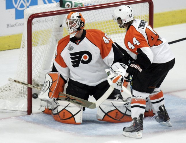 Philadelphia Flyers goalie Michael Leighton (49) and Kimmo Timonen (44) watch as Chicago Blackhawks' Brent Seabrook's shot slides in during Game 5 of the 2010 Stanley Cup Final at the United Center in Chicago, June 6, 2010. (UPI Photo/Mark Cowan)