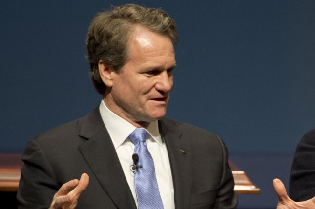 Bank of America CEO and Chairman Brian Moynihan speaks during a panel discussion at the Summit on Cybersecurity and Consumer Protection at Stanford University in Palo Alto, Calif., on February 13. Tuesday, Moynihan will face a contentious shareholder vote that may require him to drop his role as chairman. Photo by Terry Schmitt/UPI